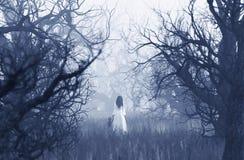 Mujer en el vestido blanco con el muchacho que camina en bosque frecuentado stock de ilustración
