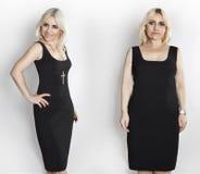Mujer en el vestido negro, fotos antes y después de la pérdida de peso Imagen de archivo libre de regalías