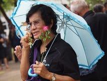 Mujer en el vestido negro que sostiene una rosa Imagen de archivo libre de regalías