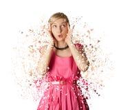 Mujer en el vestido rosado aislado en el fondo blanco Imagen de archivo libre de regalías