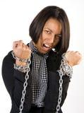 Mujer en encadenamientos Imágenes de archivo libres de regalías