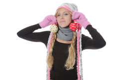 Mujer en estilo del invierno Imagen de archivo