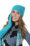 Mujer en estilo del invierno Foto de archivo libre de regalías