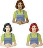Mujer en experto de la ayuda del uniforme del trabajador Fotos de archivo