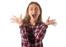Mujer en guau choque sorprendido camisa aislada Foto de archivo libre de regalías
