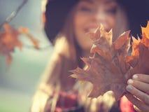 Mujer en hojas del oro de la cosecha del parque del otoño Imagenes de archivo