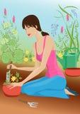 Mujer en jardín stock de ilustración