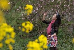 Mujer en jardín del melocotón Foto de archivo libre de regalías