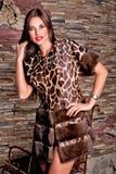 Mujer en jirafa de lujo del color del abrigo de pieles Fotos de archivo