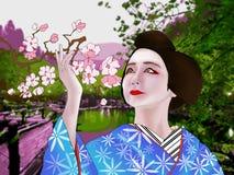 Mujer en kimono libre illustration