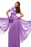 Mujer en la alineada púrpura Imágenes de archivo libres de regalías