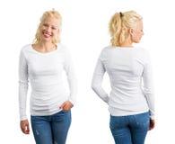 Mujer en la camisa de manga larga blanca Foto de archivo