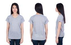 Mujer en la camiseta aislada en el fondo blanco Fotos de archivo