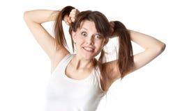 Mujer en la camiseta blanca Imagen de archivo libre de regalías