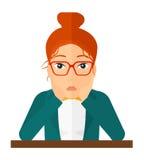 Mujer en la desesperación que agarra su cabeza stock de ilustración