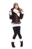 Mujer en la moda caliente del invierno de la ropa Fotografía de archivo