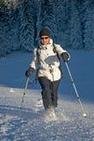 Mujer en la nieve Imágenes de archivo libres de regalías