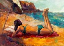 Mujer en la playa stock de ilustración