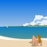 Mujer en la playa libre illustration