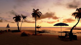 Mujer en la playa con las maletas y navegación del yate en la puesta del sol, toma panorámica, cantidad común almacen de video