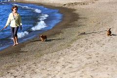 Mujer en la playa con los perros Fotografía de archivo libre de regalías