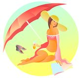 Mujer en la playa debajo Imágenes de archivo libres de regalías