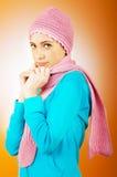 Mujer en la ropa caliente Fotografía de archivo