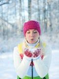 Mujer en la ropa del invierno al aire libre Fotos de archivo libres de regalías