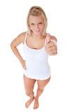 Mujer en la ropa interior blanca Fotos de archivo libres de regalías