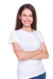 Mujer en la situación blanca de la camiseta Imágenes de archivo libres de regalías