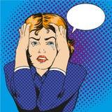 Mujer en la tensión y el griterío Vector el ejemplo en estilo retro cómico del arte pop Foto de archivo libre de regalías
