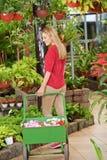 Mujer en las plantas de las compras del centro de jardinería foto de archivo