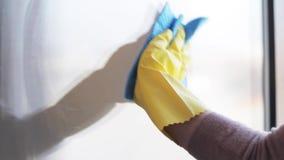 Mujer en los guantes que limpian la ventana con el trapo y el espray
