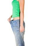 Mujer en los pantalones enormes Imagen de archivo