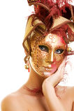 Mujer en máscara del carnaval Fotografía de archivo