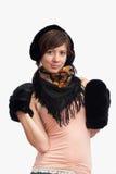 Mujer en manopla caliente negra Imagen de archivo libre de regalías