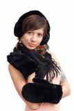 Mujer en manopla caliente negra Imágenes de archivo libres de regalías