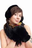 Mujer en manopla caliente negra Foto de archivo libre de regalías