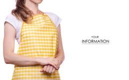 Mujer en modelo del delantal imagen de archivo libre de regalías