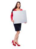 Mujer en muestra que muestra roja Fotografía de archivo