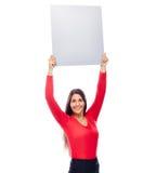 Mujer en muestra que muestra roja Foto de archivo