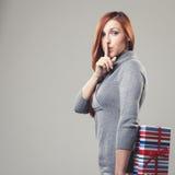 Mujer en muestra reservada Imágenes de archivo libres de regalías