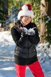 Mujer en nieve Imagenes de archivo