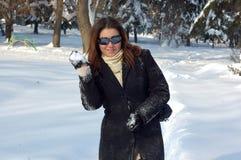 Mujer en nieve Imágenes de archivo libres de regalías
