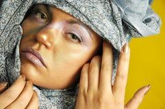 Mujer en pañuelo para el cuello foto de archivo libre de regalías