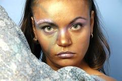 Mujer en pañuelo para el cuello Imágenes de archivo libres de regalías