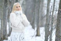 Mujer en parque del invierno Foto de archivo libre de regalías