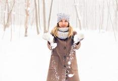 Mujer en parque del invierno Fotografía de archivo libre de regalías