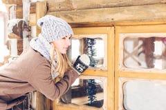 Mujer en parque del invierno Fotos de archivo