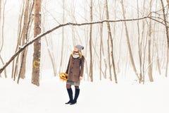 Mujer en parque del invierno Imagen de archivo libre de regalías